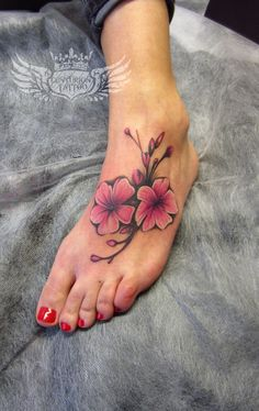 cherry blossom foot tattoo