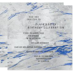 White Blue Gray Marble Minimal Birthday Party 13 Cm X 13 Cm Square Invitation Card