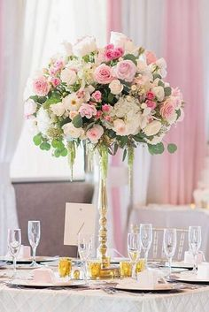 Floral Wedding Centerpieces Planning and Tips - Love It All Pink Wedding Centerpieces, Unique Centerpieces, Wedding Flower Arrangements, Wedding Decorations, Centerpiece Ideas, Topiary Centerpieces, Centerpiece Flowers, Floral Wedding, Wedding Flowers