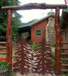 Content in a Cottage: Log Cabin Gate Log Cabin Living, Log Cabin Homes, Log Cabins, Driveway Entrance, Little Cabin, Up House, Cabins And Cottages, Entrance Gates, Cozy Cabin