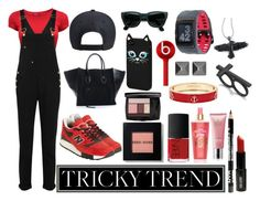 """RedBlackOverall"" by michelledhrm ❤ liked on Polyvore"