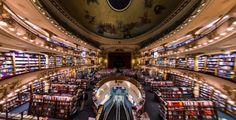 100-year-old splendorous theatre was converted into one of the most beautiful bookstores in the world.   Interior.Source:Niels Mickers/FLickr