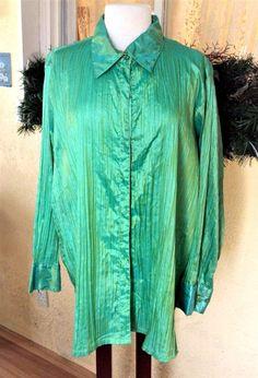 Ulla Popken Relaxed Fit Pleated Iridescent Long Sleeve Blouse 24/26 Green Plus #UllaPopken #Blouse #PartyChurch