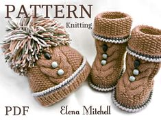 .............................. PATTERN ............................ .................... INSTANT DOWNLOAD ................ This is a Knitting PATTERN Baby Set ( PDF file ) Price is ONLY for the PATTERN and NOT for the finished item ! -------------------------------------------------------------------------------------- The Baby Booties and Hats are knitted on two needles. Pattern is made for Sizes : BOOTIES : 0 - 3 months ; 3 - 6 months ; 6 - 9 months ; 9 - 12 months ; HAT : 0 - ...