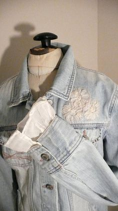 Upcycled Jean Jacket Aeropostale Size Medium by VagabondChicks, $36.00