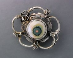 Brooch | Temi Kucinski.  Ocean Jasper and sterling silver. Via Etsy.