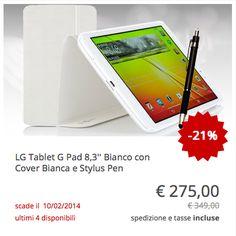 #LG #tablet #GPad 8.3, con cover e stylus pen comprese nel prezzo. Colore bianco.