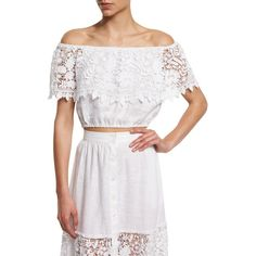 Miguelina Dakota Off-The-Shoulder Lace Crop Top ($235) ❤ liked on Polyvore featuring tops, pure white, lace top, short sleeve lace top, off shoulder crop top, white crop top and embroidered crop top