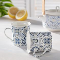 Sada hrnčekov Casa Decor blue 2 ks - 300ml 26x11x9,5cm    #keramika#hrnceky#kava#kuchyna#jedalen Mugs, Medium, Tableware, Kitchen, Kitchen Dining Rooms, Tumblers, Tablewares, Essen, Dinnerware