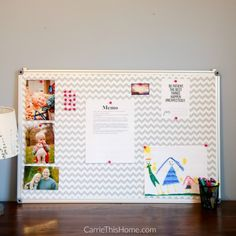 Turn a plain boring bulletin board into something that reflects your personality!  This DIY Fabric Covered Bulletin Board project includes step-by-step directions making this a simple & fun project for anyone! Carrie This Home featured on Kenarry.com