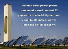 German solar energy plants. Mirrors focus sun on a salt filled column run through with steam generating pipes