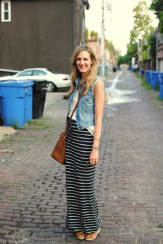 striped maxi skirt  / T / denim vest or jacket