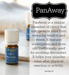 PanAway is an incredible oil for relieving discomfort. This oil supports the nervous system and is great for healthy muscles and bones. PanAway reduces swelling from bumps and bruises. My kids ask for PanAway for all their 'owies' and bug bites that hurt.