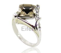 simple unique ring in rhombic shape with shiny Greige Swarovski element crystal