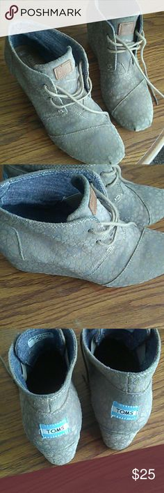 TOMS Wedge Lace Ups Good condition. Women's size 9 TOMS Shoes