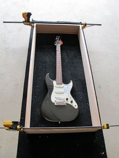 Guitar wall cabinets - building eight of them - with pics Guitar Display Case, Guitar Storage, Guitar Room, Guitar Wall, Guitar Hanger, Home Music Rooms, Home Studio Music, Diy Projects Garage, Music Furniture