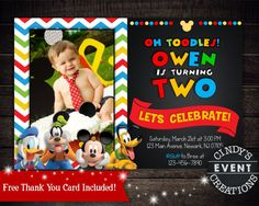 Oh two dles mickey mouse club house second birthday invitation mickey mouse invitation mickey mouse by cindyseventcreations filmwisefo