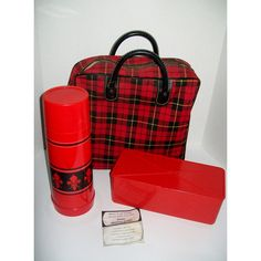 Vintage Sears Picnic Tote Aladdin Thermos Lunch Box Red Tartan Plaid... ($50) ❤ liked on Polyvore featuring home, kitchen & dining, food storage containers, plaid lunch box, plaid picnic basket, vintage lunch boxes, vintage thermos and plastic picnic basket