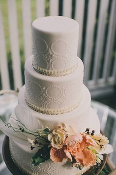 embossed wedding cake // photo by Ryder Evans // http://ruffledblog.com/bohemian-byron-bay-inspiration