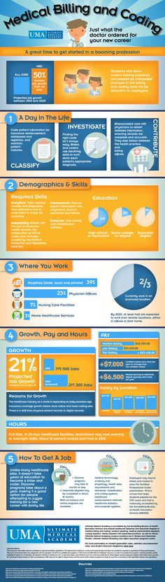 Educational infographic & Data Medical Billing and Coding Training Medical Coder, Medical Billing And Coding, Medical Careers, Medical Terminology, Billing And Coding Certification, Stem Careers, Inbound Marketing, Content Marketing, Media Marketing