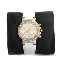 HSN Timepieces By Randy Jackson Boyfriend White Leather Strap Watch 579B #TimepiecesByRandyJackson #Sport #Christmas