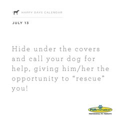 "Hide under the covers and call your dog for help, giving him/her the opportunity to ""rescue"" you!"