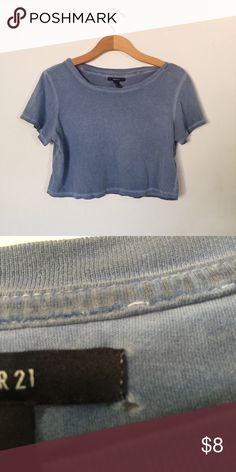 forever 21 blue loose crop top Great condition and super cute there's one really tiny hole next to the tag:) Brandy Melville Tops Crop Tops