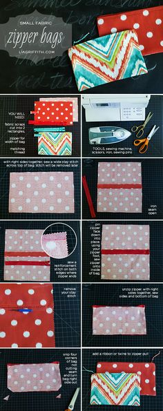 Small Zipper Bag Tutorial - an interesting way to put a zipper to the pouch, I will try that.