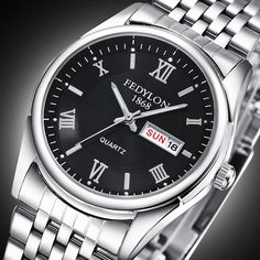 New Luxury Brand Date Day Men's Watch Waterproof Mens Watches Stainless Steel Business Clock Quartz Wristwatch Montre Homme 0190
