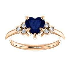14kt Rose Gold 6x6mm Center Heart Sapphire and 6 Accent Genuine Diamonds Engagement Ring...(ST71586:1115:P).! Price: $869.99 #diamonds #ring #gold #bezelring #fashion #jewelry #jemstone