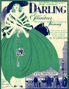 "llustrated Sheet Music by Roger De Valerio, 1921,""Darling""."