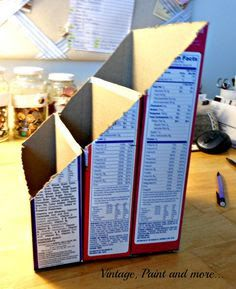 DIY Paper Organizer Vintage, Paint and more. DIY Paper Organizer<br> A paper organizer made from repurposed cereal boxes and scrapbook paper. Craft Organization, Craft Storage, Diy Organizer, Cereal Box Organizer, Cardboard Organizer, Cereal Box Storage, Cardboard Storage, Cardboard Boxes, Closet Organization