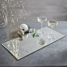 Buy Rectangular Mirror Charger - from The White Company Christmas Decorations For The Home, Tree Decorations, Decorative Accessories, Home Accessories, Mirror Centerpiece, Felt Cover, Mirror Tray, Jar Lights, The White Company