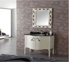 This transitional single sink vanity offers a feminine look without going overboard. Simple lines in white contrast with the black granite counter tops. Fixtures are not included. White Vanity Bathroom, Single Sink Bathroom Vanity, Bathroom Vanity Cabinets, Vanity Sink, Bathroom Furniture, Bathroom Vanities, Sinks, Modern Bathroom, Black Granite Sink