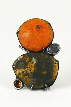 Deborrah Daher | enamel, moss agate and citrine brooch