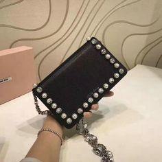 2017 Spring Miu Miu Little Bag Black with Crystals and Pearls