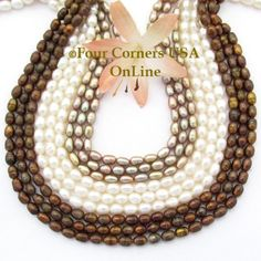 Four Corners USA Online - White Taupe Cooper Freshwater Pearl 16 Inch Bead…