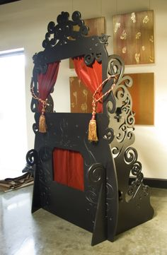 For Halloween this year we made Backbone Entertainment a spooky puppet theater. Red velvet curtains and tassels add a splash of decadence and color to the wonderfully ornate carvings done in all bl Shadow Theatre, Toy Theatre, Laser Co2, Red Velvet Curtains, Marionette Puppet, Puppet Crafts, Puppet Show, Puppet Making, Cnc Projects