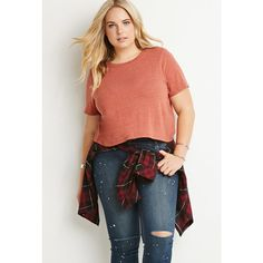 Forever 21 Plus Forever 21 Plus Women's  Plus Size Classic Boxy Tee ($9.90) ❤ liked on Polyvore featuring tops, t-shirts, womens plus tops, forever 21 tops, forever 21, red t shirt and forever 21 t shirts