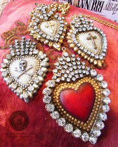 Designs from Relics & Artifacts ambassador Kimberly Cochrane of Madonna Enchanted Coeur Tattoo, I Love Heart, Mexican Folk Art, Heart Art, Sacred Heart, Religious Art, Beaded Embroidery, Altered Art, Heart Shapes