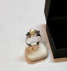 168 mm Ring Silber 835 Perle Saphire Shabby Vintage 50er