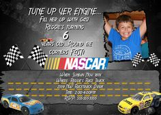 Nascar Invitation Birthday Party Card Hot wheels Design RACE CARS BOY BoYs Racing. $14.98
