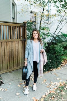 my go to travel outfit & a giveaway! - Glitter & Gingham. White waffle knit tee+black leggins+white sneakers+grey knit long cardigan+black backpack+blush plaid scarf. Fall Casual Outfit 2016