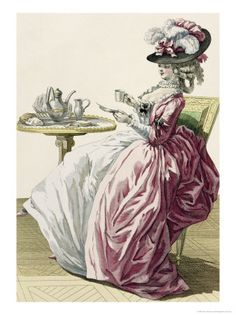 Elegant Woman in a Dress A L'Anglaise Drinking Coffee.