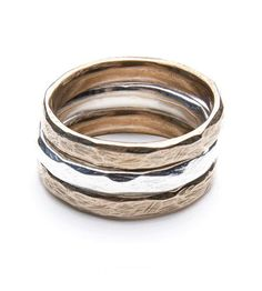 Drift Textured Rings – Set of 3 by Carrier Pigeon Jewelry on Scoutmob Shoppe