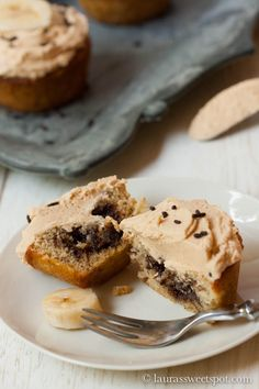 Banana Cupcakes with Nutella Filling AND Peanut Butter Frosting- absolutely AMAZING!