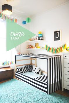 An IKEA Kura bed hack in a child's room featuring a black and white striped fabric canopy. Kura Ikea, Kura Bed Hack, Girls Bedroom, Bedroom Decor, Bedroom Shelves, Ikea Bedroom, Bedroom Furniture, Furniture Ideas, Funny Furniture
