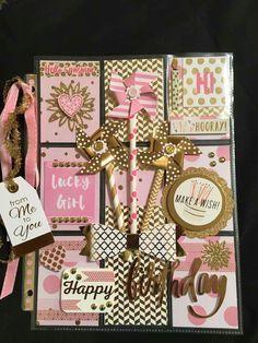 Pink/Gold theme pocket letter- Made by Karen Boykin Robertson Pocket Pal, Pocket Cards, Snail Mail Pen Pals, Pocket Envelopes, Fun Mail, Birthday Tags, Journal Cards, Atc Cards, Pocket Scrapbooking