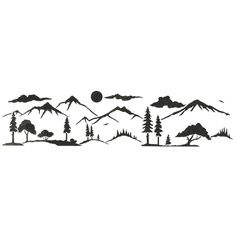 Designer Stencils Mountain Silhouette Landscape Wall Stencil 3146 - The Home Depot Stencils, Tree Stencil, Stencil Painting On Walls, Owl Stencil, Doodle Drawings, Art Drawings Sketches, Doodle Art, Easy Drawings, Blackwork