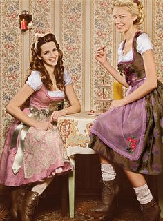 This is an image from the Dirndl Magazine that features fashion relating to traditional and modern costumes--especially the Dirndl dress. This is from the Trentini Couture/Miss Trentini collection from Fall/Spring Folk Fashion, Fashion Mode, Fashion Outfits, Womens Fashion, Fashion Beauty, Dirndl Dress, Dress Up, German Costume, German Fashion